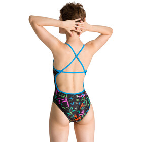 arena Multicolor Palms Accellerate Back Traje Baño Una Pieza Mujer, turquoise/multi